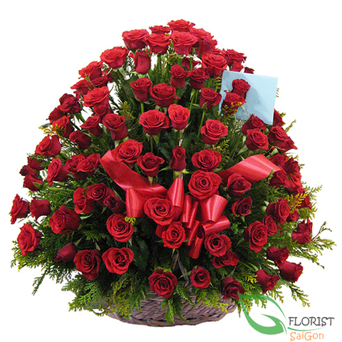 99 red roses basket