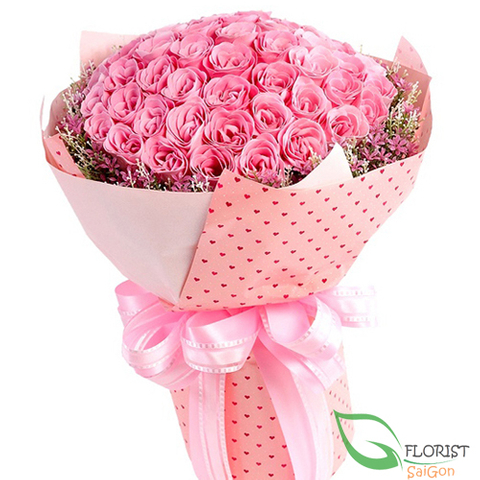 99 pink roses bouquet
