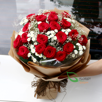 Red roses and baby breath bouquet