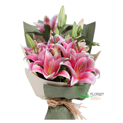 Pink lily bouquet delivery