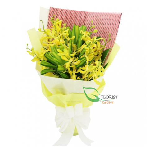 Flowers mokara bouquet with yellow colour