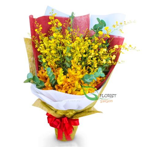 Yellow orchid bouquet