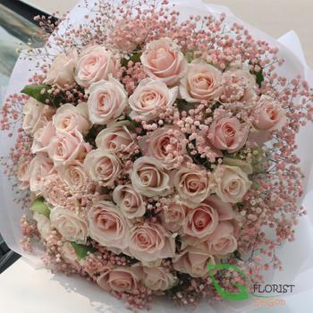 Love flowers with pink roses in Saigon FREE shipping