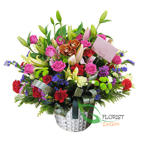 Saigon basket flowers for birthday