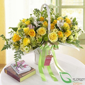 Yellow rose birthday arrangement