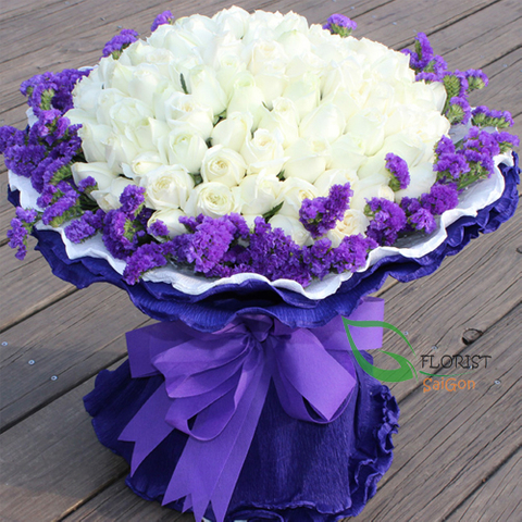 White roses bouquet Saigon vip flowers