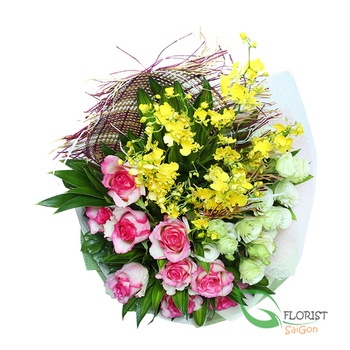 Saigon love flowers bouquet for wife free shipping