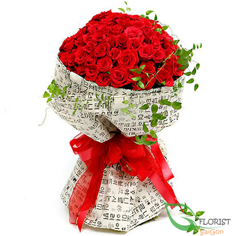 99 red roses of hand bouquet