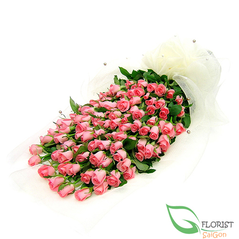 Bouquet of 99 pink roses
