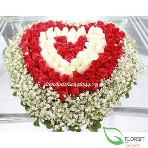 99 roses in heart shape