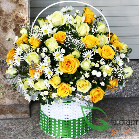 Saigon yellow roses basket