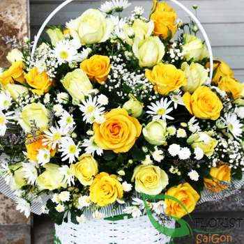 Saigon yellow roses basket free shipping