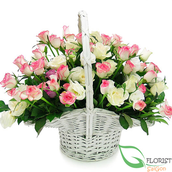 send beautiful pink roses for loving Saigon