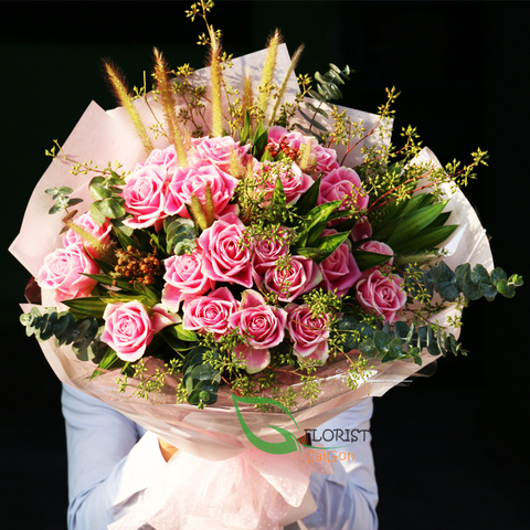 Send pink roses bouquet to Saigon