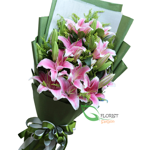 Pink lily flower arrangement Saigon