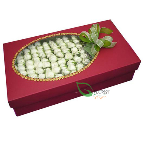 100 white roses in box