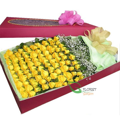 100 yellow roses in box
