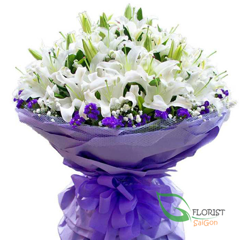 Saigon vip bouquet with white lily flowers