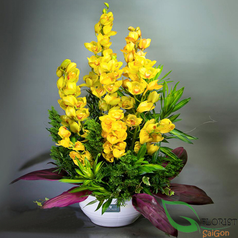 Cymbidium orchids flower arrangements