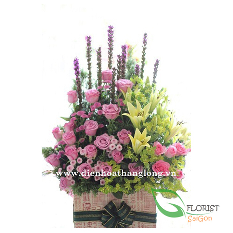 Saigon birthday flowers basket free delivery today
