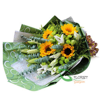 Sunflower bouquet delivery at home in HCMC