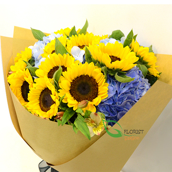 Sunflower birthday bouquet in Saigon free shipping