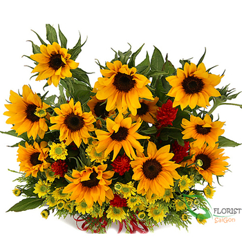 Good morning Saigon with sunflowers basket online