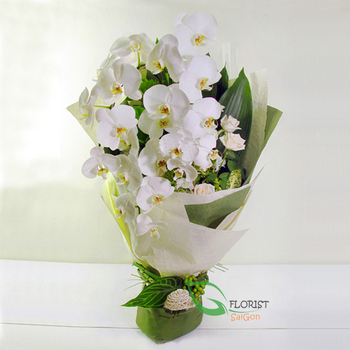 White orchid bouquet for delivered