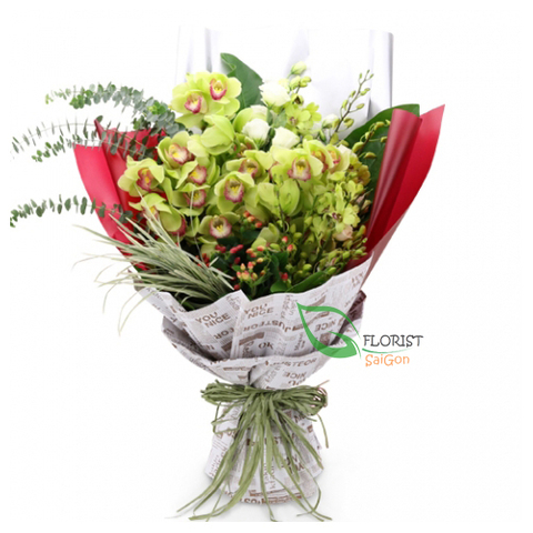 Green orchid flower bouquet