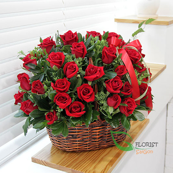 Love romantic from basket flowers