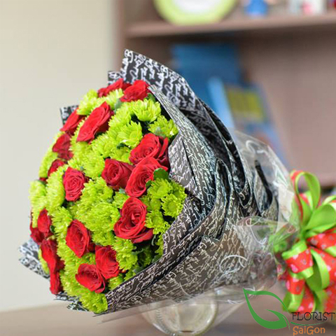 Red and green flower bouquet