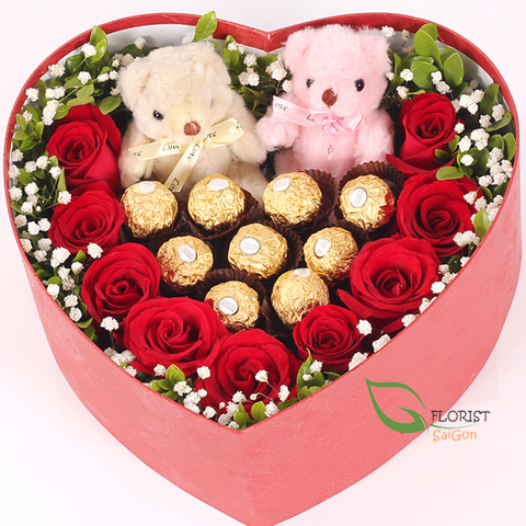 Boxed roses and chocolate for Valentine's Day