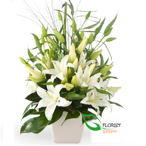 Christmas lily arrangement