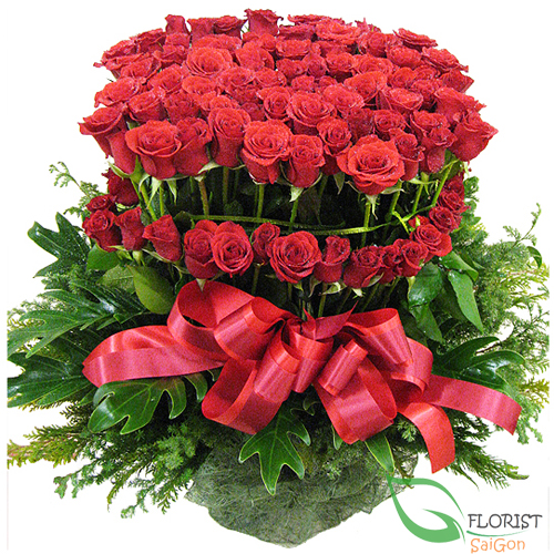 Basket of 99 red roses