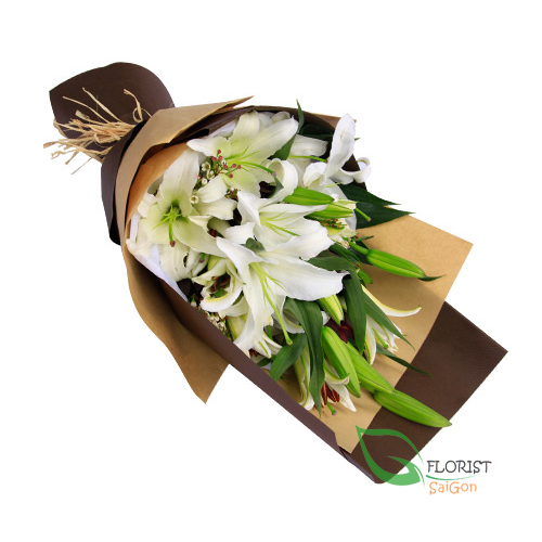 Beautiful white lily flowers bouquet Saigon