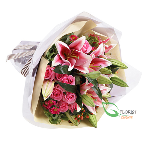 Bouquet of pink roses and lilies online delivery