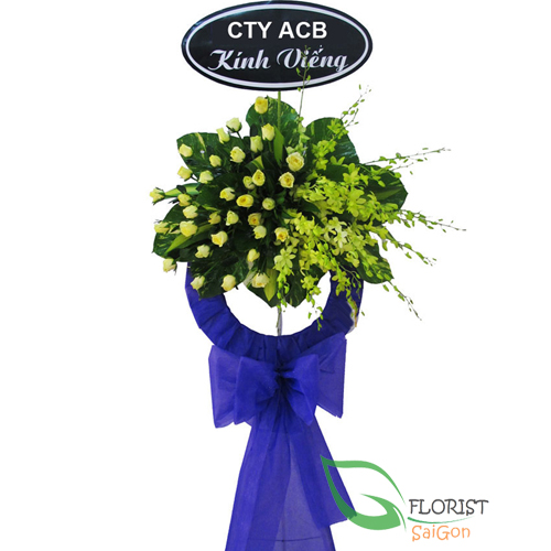 Funeral flowers ribbon message in Hochiminh city florist
