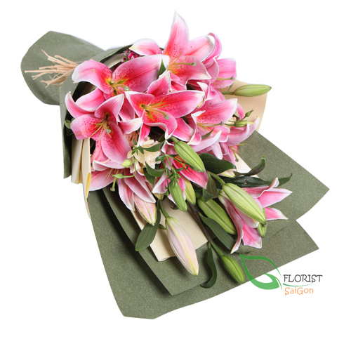 Pink lily flower bouquet delivery to Saigon