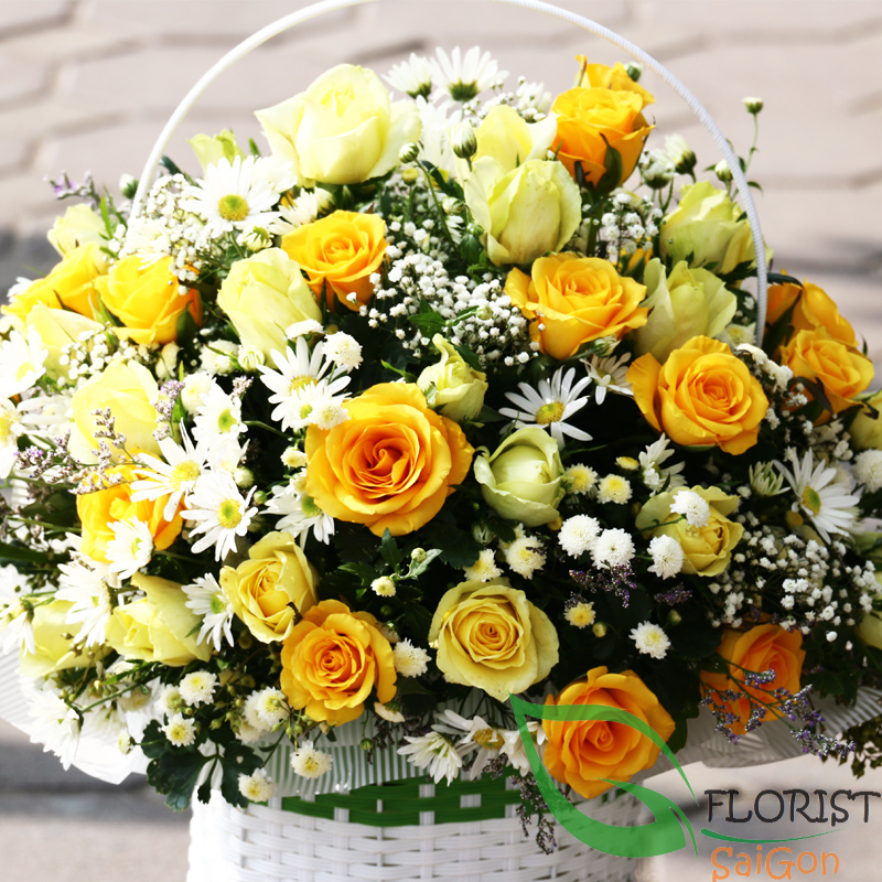 Saigon yellow roses basket best florist