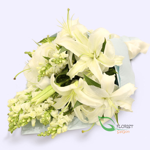 Order white flower bouquet to Saigon